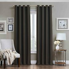 """Eclipse Wyndham Grommet Brushed Nickel Blackout Window Curtain Panel 84""""Charcoal"""