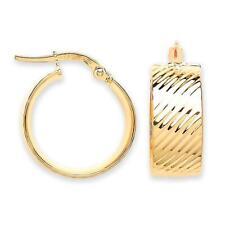 9ct Yellow Gold 20mm Diameter 7.5mm Wide Flat Ribbed Stripe Hoop Earrings 2.0g