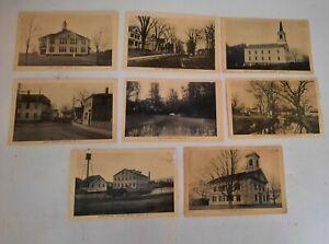 8 Vintage postcards Ashaway RI streets buildings church