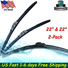 "2PCS Bracketless J-HOOK 22"" & 22"" INCH Windshield Wiper Blades OEM QUALITY New"