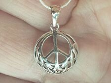 925 Sterling Silver Peace Sign Pendant with Italian Snake Chain