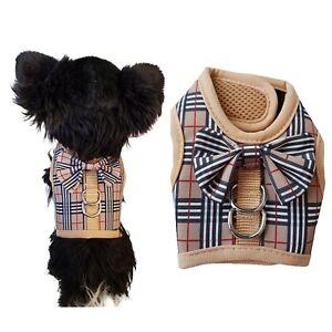 Designer Burb Dog Fashion Harness Coat Tartan Plaid Escape Proof Puppy Kitten