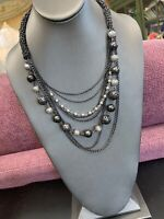 Vintage Gorgeous 8 Grey Multi Strand Chain Waterfall Long Bib Statement Necklace