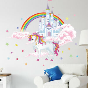 Unicorn Castle DIY Wall Sticker Home Decals Girl Bedroom Removable Art Decor.
