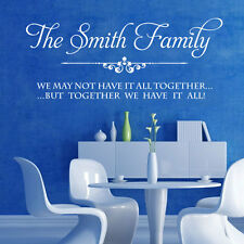 Large Personalised Family Name Wall Stickers- Art Quotes Bedroom  Decal,transfer