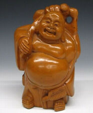 Rare Japanese Antique Wooden Hand Carved Hotei Buddha Seven Lucky Gods Statue