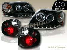 1997-2000 FORD F-150 TWO HALO LED PROJECTOR HEADLIGHTS + TAIL LIGHTS BLK