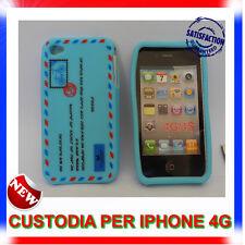 Custodia + Pellicola silicone AIRMAIL AZZURRA per IPHONE 4G