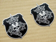 Stainless Steel Skull Shield Badge Emblem Decal Harley XL Road Glide Street FLHX