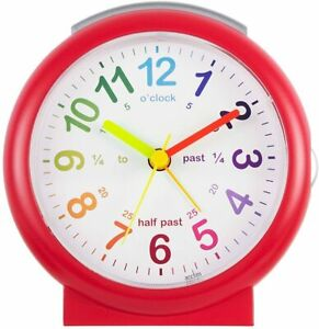 Acctim Alarm Clock Lulu2 Kids Boys Time Teaching Non Ticking Silent Children Red
