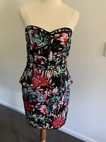 Ladies Honey & Beau  Size 10 Peplum Strapless Dress Floral Print Cocktail Party