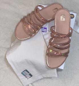 Fitflop The Linny Slide With Swarovski Crystals Blush Sandal Pink UK 5 RRP £300