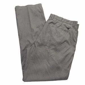 Callaway Golf Pants Mens 38/34 Black White Stripe Grip Waistband Flat Front