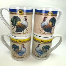 Gibson Home Rooster Mug Everyday Collection Chicken 12 Oz Set of 4 Tea Cup C36