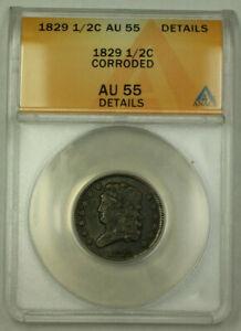 1829 Classic Head Half Cent 1/2c Coin AU-55 Details Corroded GKG