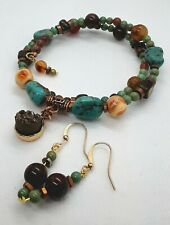 VINTAGE TURQUOISE NUGGET BEADS JASPER SHELL DRUZY COPPER TRIBAL CHOKER NECKLACE