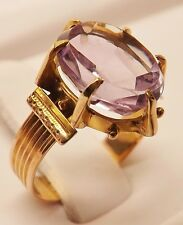 VICTORIAN 14k ROSE GOLD 4 ct OVAL LIGHT PURPLE AMETHYST COCKTAIL RING SIZE 4-1/4