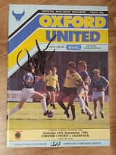 Hand Signed Steve McMahon Debut Programme: Oxford Utd v Liverpool FC Autograph