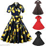 Womens Vintage Retro Floral/Polka Dot 1950s Housewife Cocktail Party Swing Dress