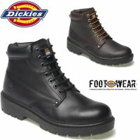 MENS DICKIES LEATHER LIGHTWEIGHT STEEL TOE CAP MIDSOLE SAFETY WORK BOOTS SHOES Z
