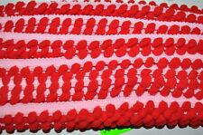 Cinta de borlas bommelborte 1 metros ribete Banda coser 2 colores rosa rojo
