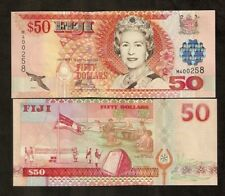 Fiji 50 Dollars P108 2002 Bird Queen Flag Unc World Currency Money Bill Banknote