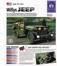 WILLYS JEEP SPEC SHEET/Brochure: 1941,1942,1943,1944,1945 (Ford GPW)