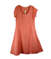 NWT J. Jill Dress Linen Midi Cap Sleeves Melon Color Fit & Flare Scoop Neck 18
