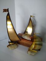 3 VINTAGE Mid Century Modern Brass Sailboat Metal Sculpture SET Signed DEMOTT