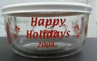Pyrex 7201 Simply Store 4 Cup Round CHRISTMAS SANTA SLEIGH CANDY CANE 2004