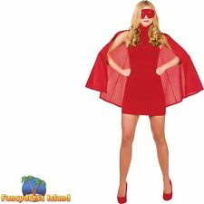 Super Hero Cape with Eye Mask Superhero Hen Night Womens Fancy Dress Costume