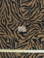"ZEBRA PRINT POLAR FLEECE FABRIC - BROWN/BLACK STRIPES - 36""X60"" SOLD BTY 15"