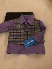 Boy Dress Shirt Tie And Vest Combo Ser12 Months Nwt