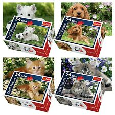 Trefl Mini 4 x 54 Pieces Kids Unisex Cute House Pets Cats Dogs Jigsaw Puzzle NEW