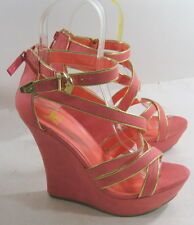 """Blush/gold 5""""high wedge heel 1.5""""platform ankle strap sexy  shoes Size 8.5  p"""