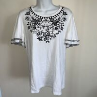 Charter Club Size Small Blouse Women's Gingham-Detail Embroidered Top White