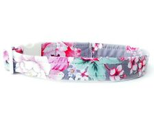 Roses on Grey Dog Collar Floral Custom Dog Collar for Girls S M L XL 2XL sizes