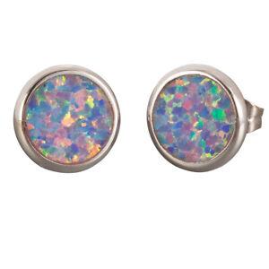 Round Lavender Purple Fire Opal Silver Jewelry Stud Earrings