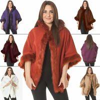 Womens Poncho Cardigan Wrap Wool Cape Fur Trim Hooded Warm Casual Coat Jackets