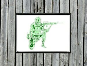 Personalised A4 Word Art Army Forces Family Gift Photo Picture Print Image