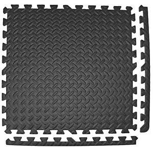 Black Interlocking Mats Yoga Exercise Gym Fitness Gymnastic Floor Mat Soft Foam
