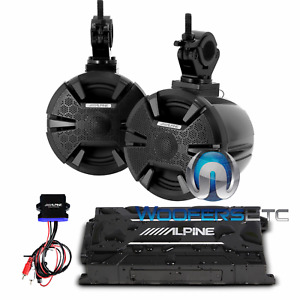 "ALPINE PSS-SX01 6.5"" MARINE BOAT TOWER SPEAKERS BLUETOOTH 4-CHANNEL AMPLIFIER"