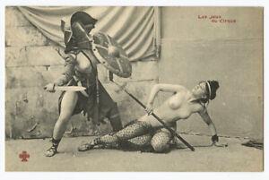 c 1910 French Risque Nude ROMAN LADY Gladiators Arena Battle photo postcard 3
