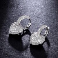 Charming Women 925 Silver White Sapphire Heart Ear Stud Dangle Wedding Earrings