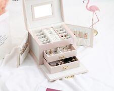 Joyería de la caja nuevo 1pc con almacenamiento Organizador Espejo pendiente anillo collar de cuero