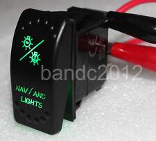 Custom DIY Boat NAV/ANC Lights Rocker Switch 7 Pin ON/OFF/ON DPDT Green Led Lamp