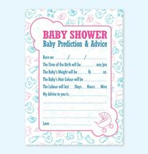 Baby Shower Prediction & Advice Game 16 A6 Party Cards - Boy Girl Neutral Unisex