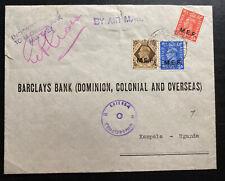 1943 Asmara Eritrea Middle East Force Barclays Bank Cover To Kampala Uganda