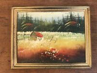 "Vintage Oil On Board Original Framed Plein Air Landscape Painting 7"" X 9"""