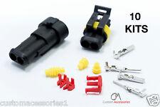 10 nuevos Kits 2 Pin forma Sellado impermeable Conector eléctrico Cable Plug Bicicleta Auto